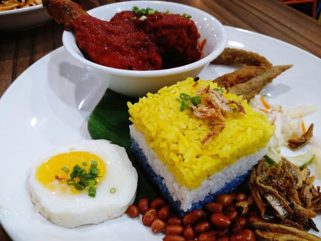 3 layer rice Malaysia Food Penang Food Plate Ready-to-eat Food And Drink No People Egg Indoors  Healthy Eating Freshness Table Close-up Day