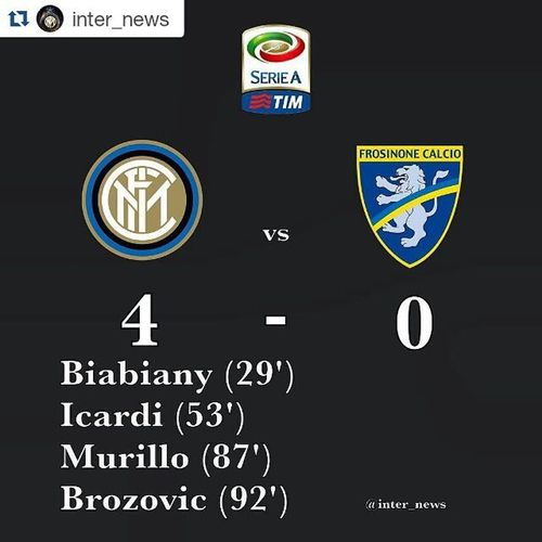 SALUTATE LA CAPOLISTA ⚫🔵❤ Repost @inter_news with @repostapp ・・・ FT: 4-0 Biabiany Icardi Murillo Brozovic Amazing win! Top of the table! Exactly what we needed, four goals and a clean sheet. On to Napoli next Monday. Grande! Inter Internazionale Intermilan  Fcim Amala Forzainter Fcinter Internews Interisti Interista Nerazzurri Pazzainter