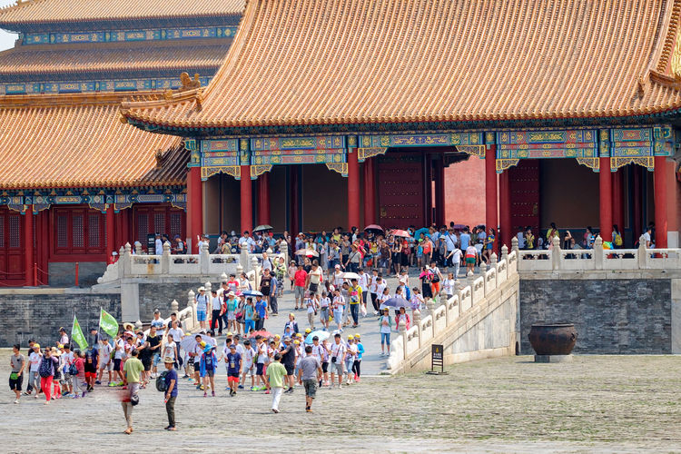 Forbidden City Architecture Building Exterior Crowd Day Large Group Of People Men Outdoors People Real People Travel Destinations