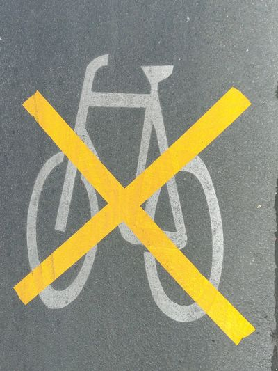 Bicycle Forbidden Prohibited No No! Verboten Verbotsschild Fahrrad Yellow Road Asphalt Close-up Road Marking Cross Shape Bicycle Lane