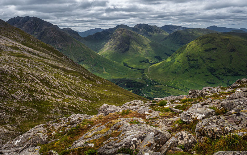 Looking south from the summit of sgorr na ciche or the pap of glencoe. in the scottish highlands