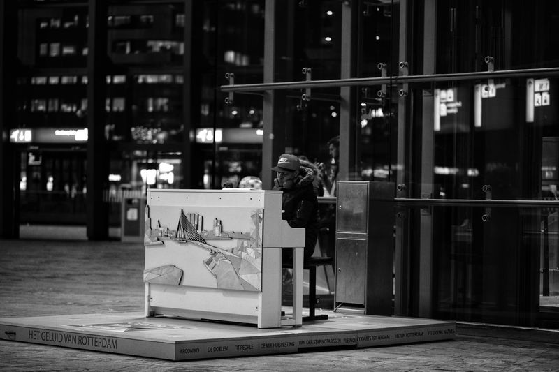 Playing in public spaces. person Black & White Black And White Collection  Public Transportation Public Space Musician Live Music Youth Of Today Piano Moments Youth Piano Music