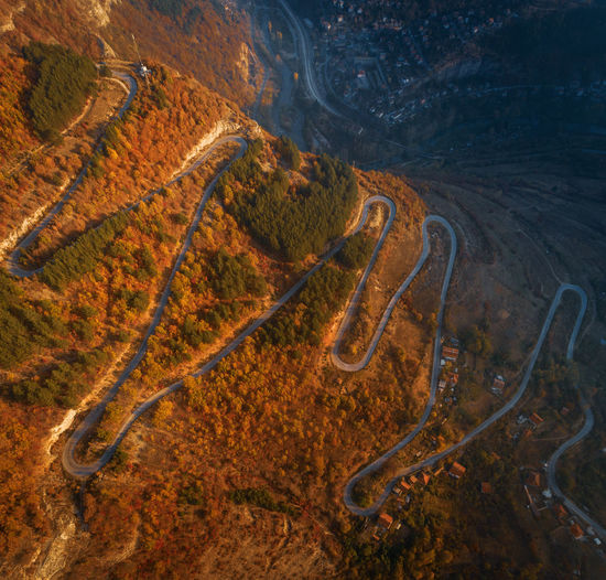 High Angle View Of Winding Road On Land