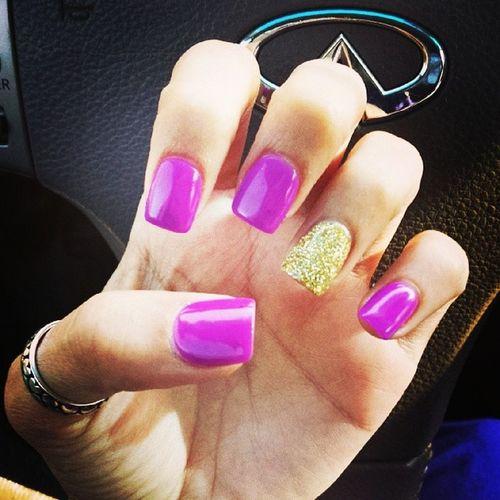 New colorrr!!! Purple Gold Glitter Nailsdid errrthingdid