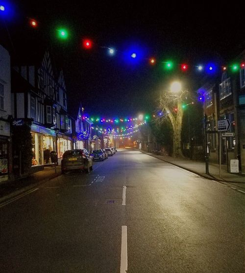 Night Road Tree Illuminated Outdoors TOWNSCAPE Town Center Town Centre Town Celebrations Church Stretton