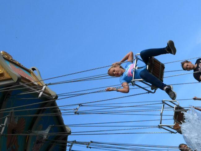 Fly high Eyeemadventure Amusement Parc Brühl Having Fun Kettenkarusel Full Length Child Hardhat  Childhood Clear Sky Working Skill  Headwear RISK Sky