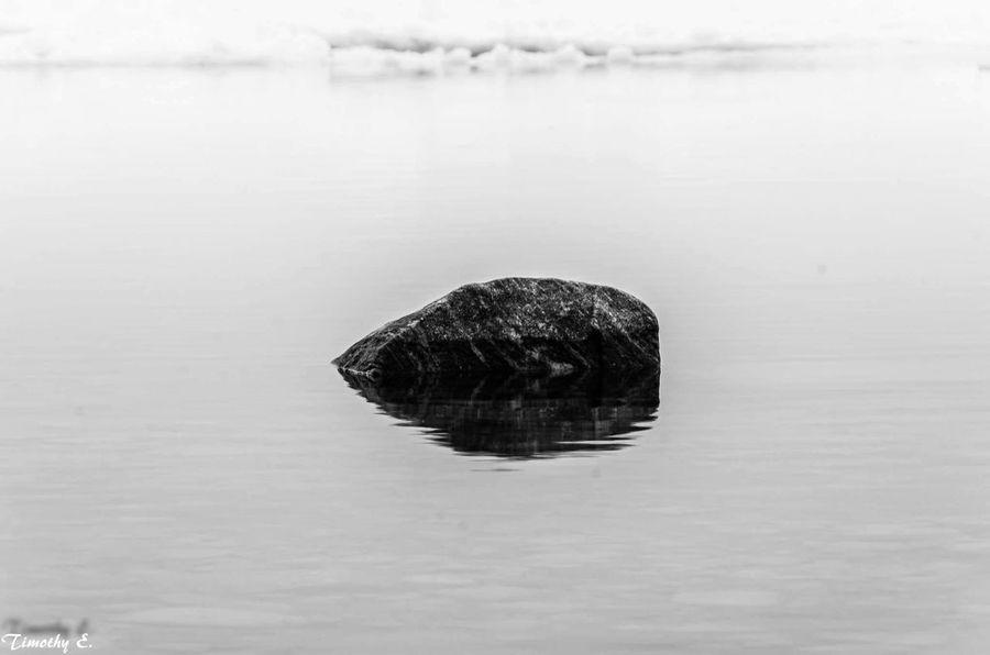 I am a rock I am an island Water Reflection Lake Huron, Canada Goderich Ontario Ontario Canada Canada Coast To Coast Nikon D7000 NikonLife Monochrome Blackandwhite Photography Water - Collection