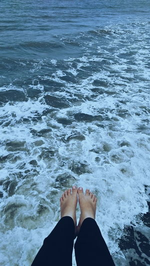 Low Section Water Women Nail Polish Standing Human Leg Ankle Deep In Water Beach Sea Personal Perspective