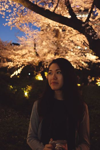 Portrait of young woman looking away at night with illuminated trees