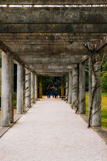 Architectural Column Architecture The Way Forward Direction Day Built Structure Group Of People Men Real People In A Row Leisure Activity Lifestyles Women Adult People Walking History The Past Full Length Rear View Outdoors Colonnade Ceiling