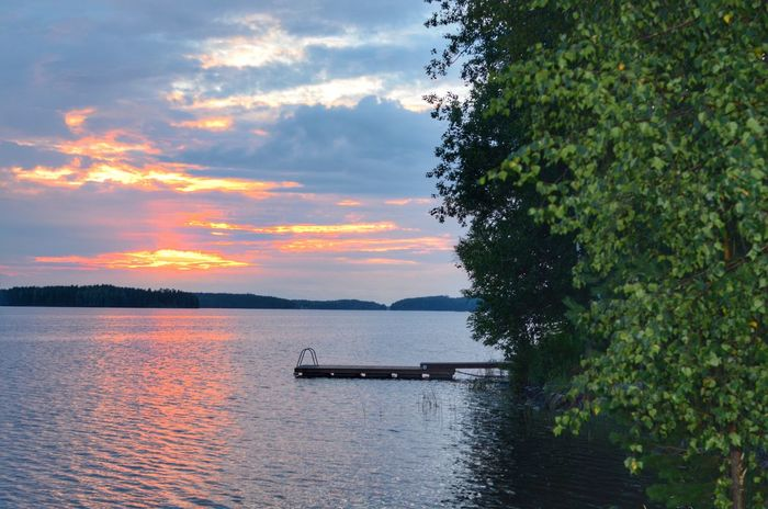 Sunset in my Finnish New Home Finnland Relaxing Sunset_collection Finland Sundown At The Lake Lake View Enjoying Life Blue Sky Blue Lakeside Romantic