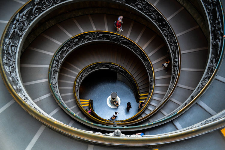 High Angle View Of Bramante Staircase In Vatican Museums