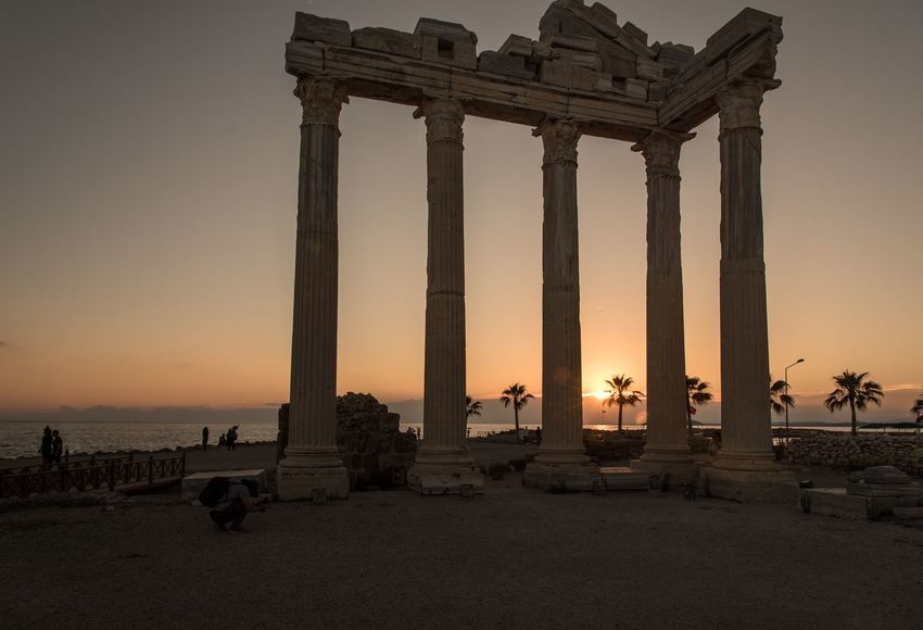 Side Apollo Temple in Side, Turkey Ancient City Tourism Ruines Ancient Architecture Ancient Temple Sunset Sea Sky Beach Water Built Structure Travel Destinations Nature Architecture Outdoors Beauty In Nature No People