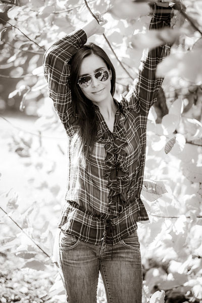 Blak And White Glasses Jeans Shopping Portrait Young Women