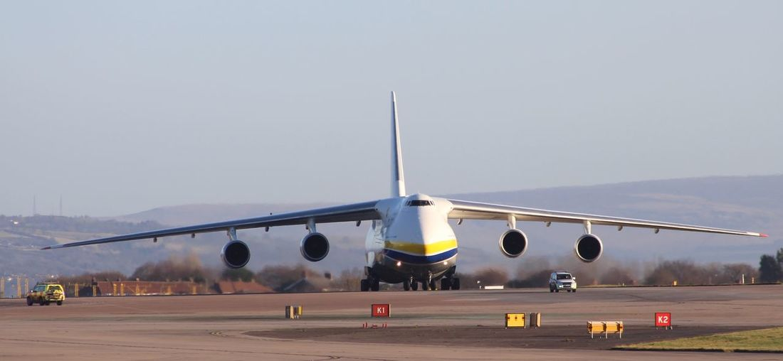 Huge bird Airport Manchesterairport Avgeek Antonov Transportation Air Vehicle Airplane Airport Runway Mode Of Transportation Sky Airport No People Clear Sky Runway Outdoors Connection Travel