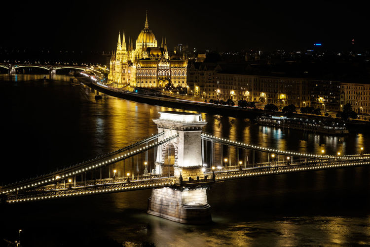 High Angle View Of Chain Bridge Over Danube River And Hungarian Parliament Building In City