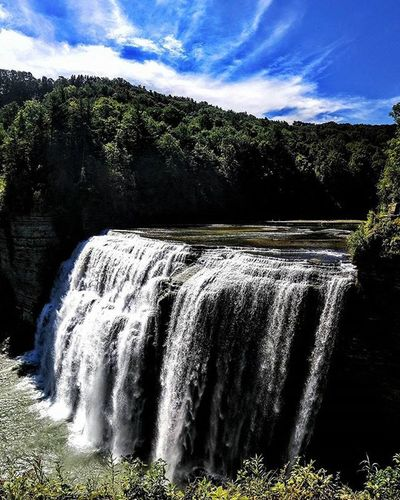 Middle Letchworth Falls. Newyork Summer Roadtrip Sunny Letchworth Waterfall Panoramic River Sunny PhonePhotography Nexus6 Water Sky Clouds Trees Landscape Landscapephotography Wanderlust July Latergram Naturephotography Nature Android Snapseed East usa America americathebeautiful