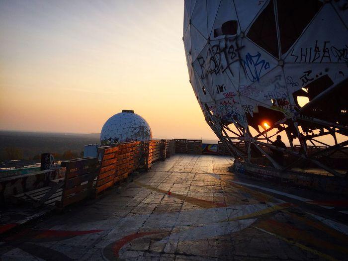 Berlin Germany Domes Graffiti Sunset Teufelsberg