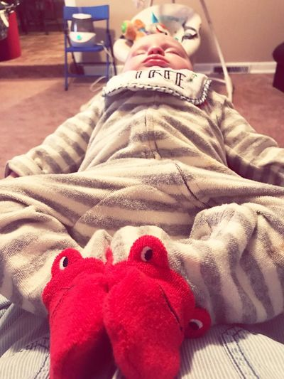 Laphotographers Comfortable Sleeping IPhoneography Nephew  Baby Boy Baby Indoors  Bed One Person Red Lying Down Childhood Close-up Animal Themes Day Mammal People Human Body Part Real People