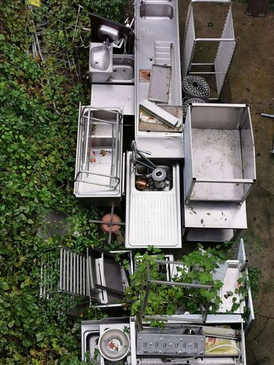 High angle view of old machine in yard