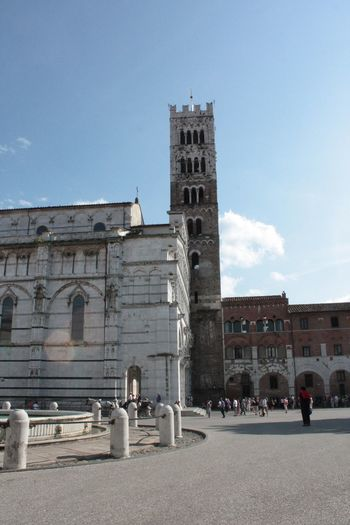 Architecture Blue Sky Building Exterior Built Structure Cathedral Church Churches Cloud Day Duomo Light Flares Lucca Lucca Italy Outdoors People Sky Tourism Travel Destinations