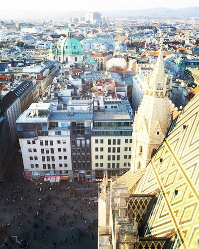 High angle view of st stephens cathedral against buildings in city