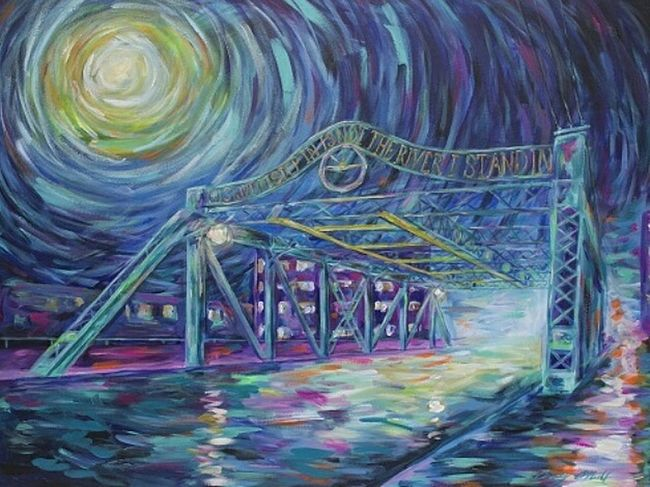 """TBT  """"Riverside Bridge"""" 30x40 Acrylic on stretched canvas. Available at wallhop.com/casey-oneill Caseyoneillart Toronto Bridge Torontoartist Riverside Riverside Painting Wallhop"""