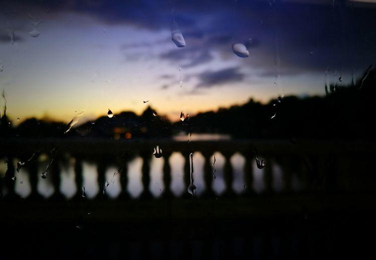 Raindrops Sunset Silhouette Sky River Focus On Foreground Bridge Nature Beauty In Nature Dark Scenics Tranquility Through The Window No People EyeEm Photooftheday Outdoors Landscape FreshonEyeem TakenwithhuwaeiP9 Caversham Rain Close-up
