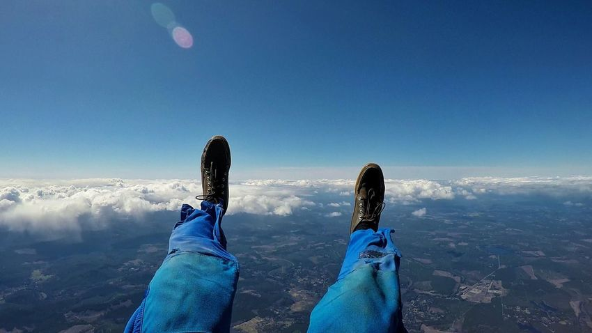 Blue Human Leg Personal Perspective One Person Beauty In Nature Lifestyles Live In The Moment Clear Sky Sky Skydive Skydiver Skydiving Cold Temperature Real People Fly