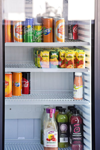 Container Refrigerator Bottle Large Group Of Objects Food And Drink Food No People Variation Indoors  Shelf Appliance Choice Freshness Still Life Arrangement Retail  Wellbeing Open Multi Colored Healthy Eating Order Beverage Soft Drink Fridge Abstract Window