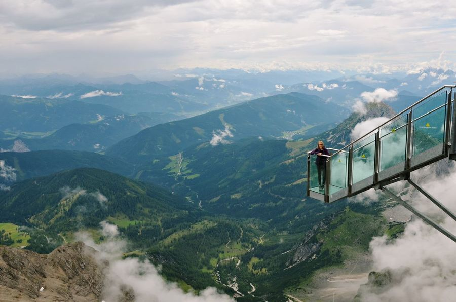 Austria Austria Mountains Dachstein Sky Walk View Adventure Beauty In Nature Cloud - Sky Day Hiking Landscape Mountain Mountain Range Nature Overhead Cable Car Real People Scenics Sky Travel Young Adult