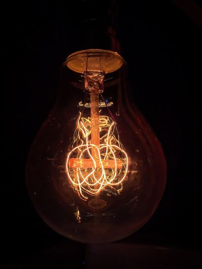 Lighting Equipment Light Bulb Element Electricity  Electric Lamp Electric Power Illuminate Glow Eddison Antique Glass Pivotal Ideas Close Up Technology