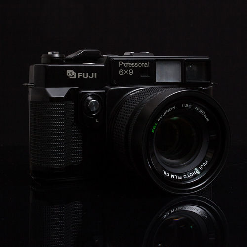 Fuji model GSW690iii Black Background Camera Camera - Photographic Equipment Fuji Fuji Camera Fuji Gsw690 Fujifilm Mediumformat Mediumformatphotography Photographic Equipment Photography Themes Retro Styled Studio Shot Technology