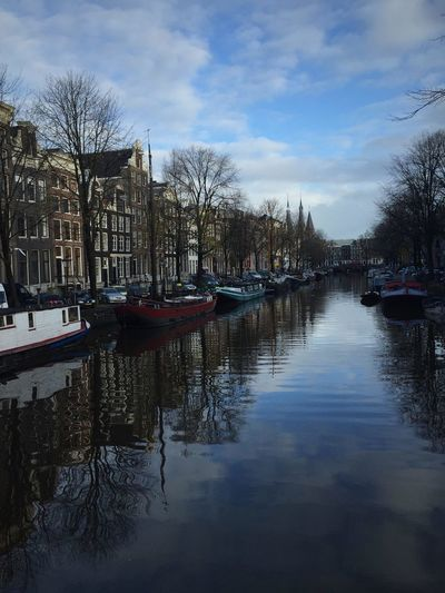 It is hard to get over how beautiful the city is. It is like a real life Disney land. People here are very nice and relaxed. I had an amazing experience there. Amsterdam Canal City Dutch House Dutch Houses Eye4photography  EyeEm Best Shots I Sky Water Your Amsterdam Adapted To The City