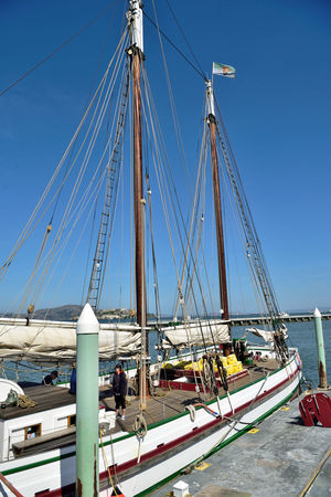 The Alma3 Scow Schooner 1891 Wooden-hulled 80 Ft. Flat-bottomed Moored Anchored Hyde Street Pier San Francisco CA🇺🇸 The Alma Built To Carry Bulk Cargo Hay,lumber & Salt Gasoline Engine Installed 1926 Used As Oyster Dredger Till 1957 Purchased By State Of California 1959 Restored In 1964 National Historic Landmark National Register Of Historic Places 75000179 San Francisco Maritime National Historic Park Harbor Waterfront San Francisco Bay The Vessel I'll Be Sailing On Today