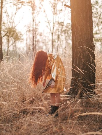 Golden dreams Forest Photography Forest Goldenhour Gold Women Girl Ginger Nature Tree One Person Tree Trunk Leisure Activity Long Hair Young Adult Rear View Real People Lifestyles Standing Adult Outdoors One Woman Only Full Length Young Women Day One Young Woman Only EyeEmNewHere Paint The Town Yellow