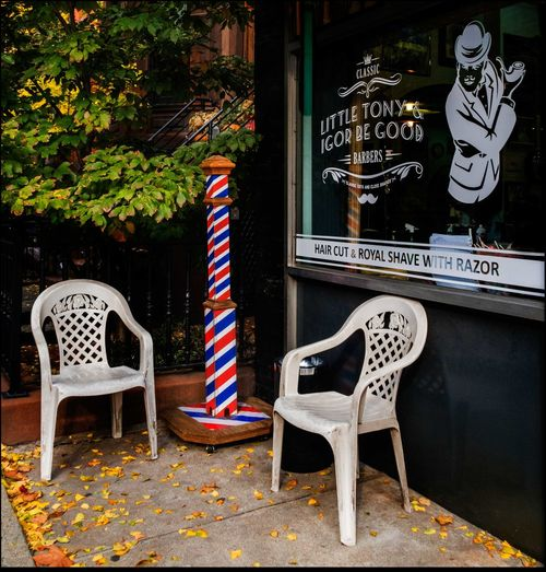 Have a seat, be with you in a minute!! Little Tony & Igor Be Good Barbers Barber Shop Barber's Pole Chairs Come On Over And Have A Seat..... Empty Chairs Hair Cut Inviting Pumpkins Shave W/ Razor Shot 11/15/15 Window Graphics