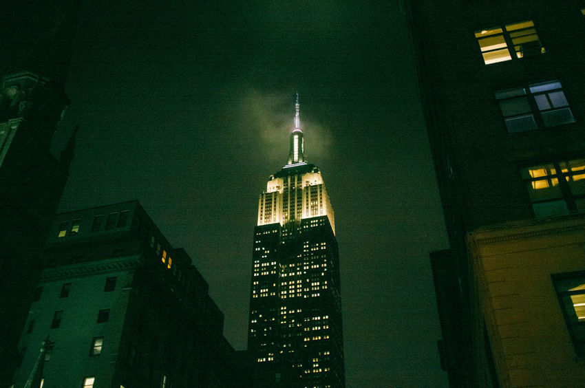 Building Exterior Built Structure City Empire State Building New York Night Urban