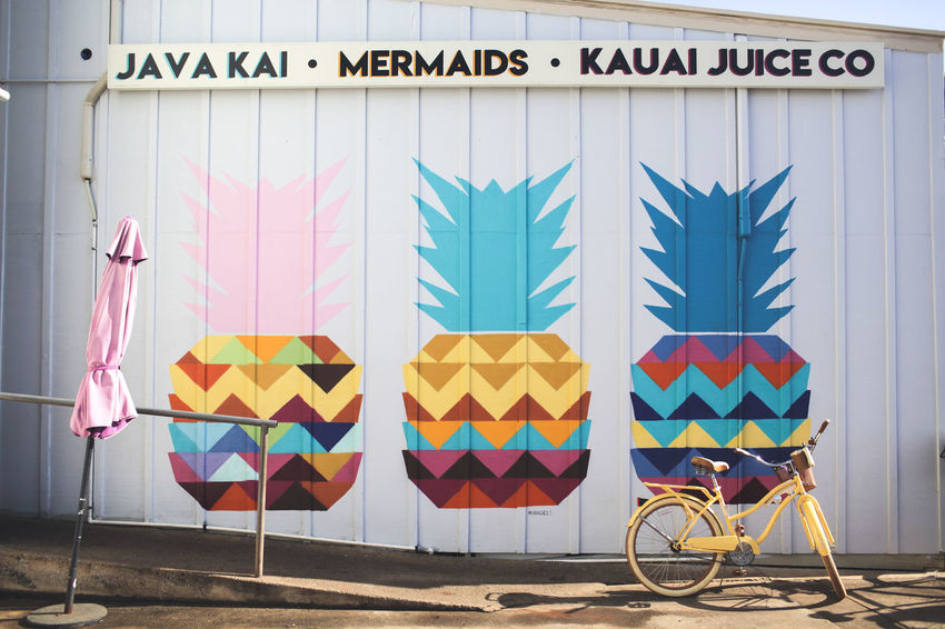Hawaii Kauai Pineapple Bicycle Building Exterior Close-up Communication Day Multi Colored No People Outdoors Text Transportation