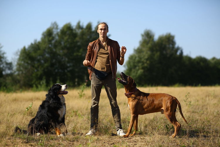 Portrait of man training dogs on land against clear sky