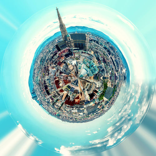 Little planet 360 degree sphere. Panoramic view of Vienna. Austria 360 Degree Architecture Austria Bright City Cityscape Panorama Panoramic Skyline Sphere TOWNSCAPE Vienna Architecture Building Exterior Circle Cityscape Clouds And Sky Landscape Outdoors Planet Sky Skyscraper Three Dimensional Three Dimentional Photography Urban Skyline