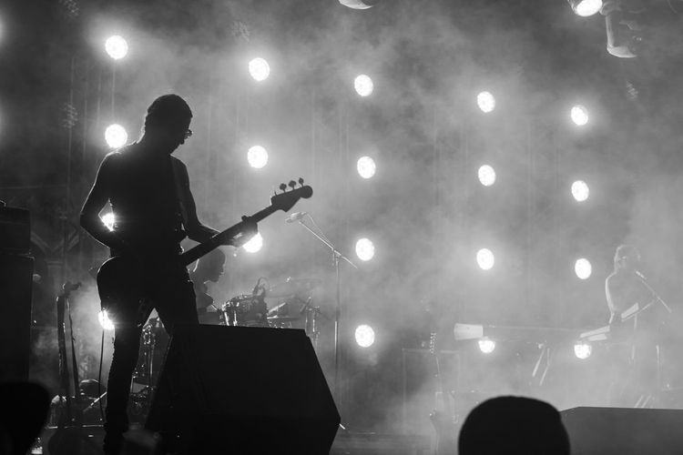 Man playing bass at music concert
