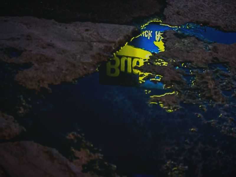 """""""A sleepless Queen City examines her reflection before greeting the dawn"""" (2016) Night Photography Denver,CO Reflection Photography Reflection In The Water Business Sign Puddle Reflections Puddle Photography Neon Lights Outdoor Photography"""