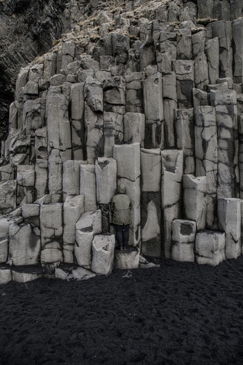 where's wally? #2 Iceland Iceland_collection Basalt Columns Blending In  Camouflage Stones Rocks Black Sand Beach Beauty In Nature Optical Illusion Stack Backgrounds Arrangement Full Frame Textured  Heap