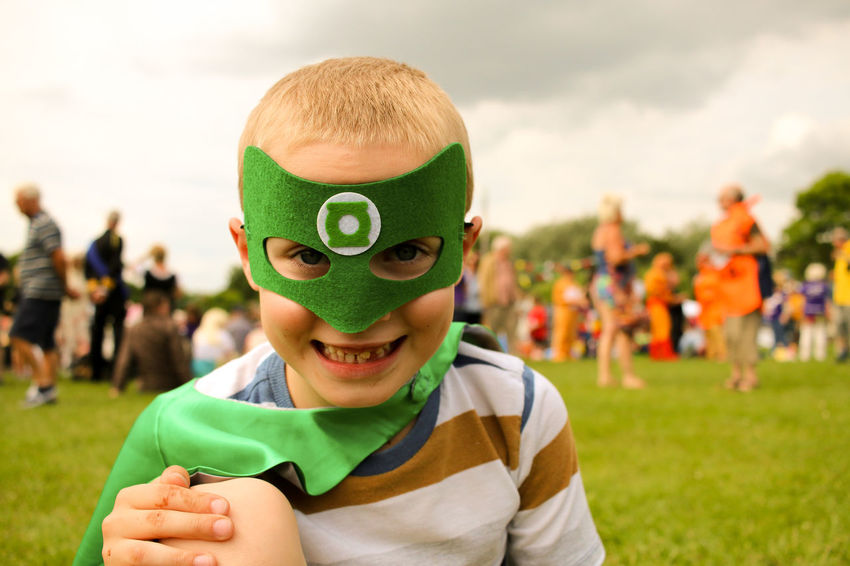 Boys Carnival Casual Clothing Childhood Close-up Cute Day Enjoyment Focus On Foreground Fun Green Lantern  Headshot Leisure Activity Outdoors Portrait Sky People And Places