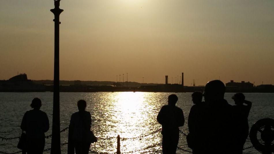 Albert Docks Liverpool, England Silhouette Tourist Evening Last Sunshine Mersey