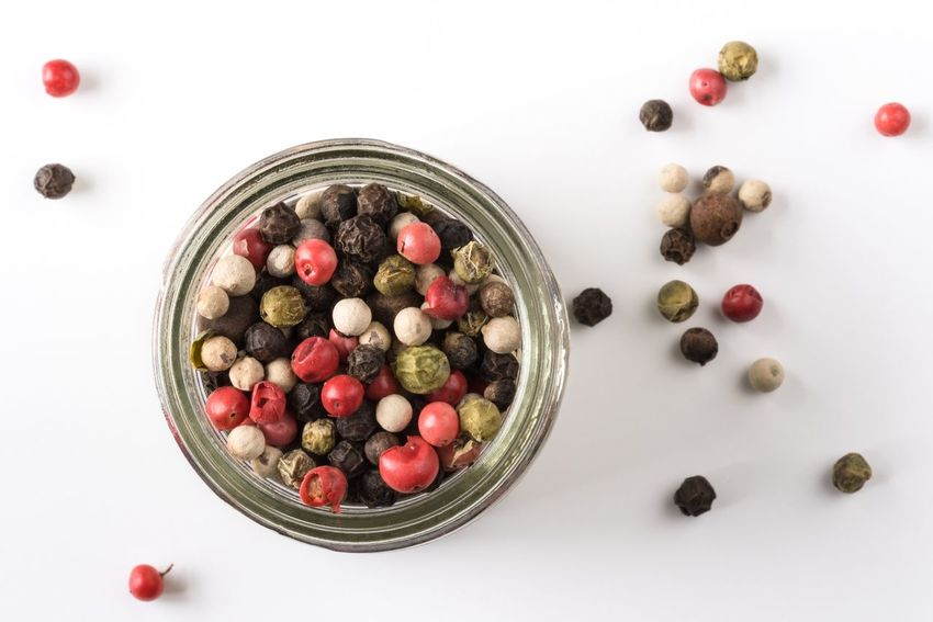 Food Photography Peppercorns Colored Food And Drink White Background Top View Isolated Food Spice Seasoning Ingredients No People Directly Above Cuisine Culinary