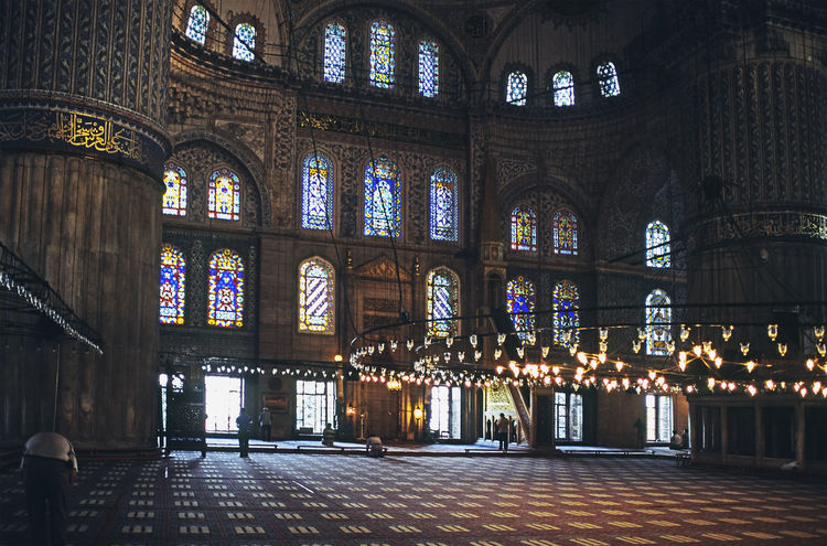 Interior of Blue Mosque at Istanbul Blue Mosque Istanbul Architecture Built Structure Indoors  Interior Place Of Worship Religion Spirituality Stained Glass Window