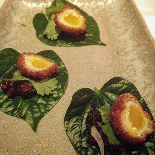 12/29/2015 Appetizer Prawnscotcheggs Betelleaves Coconutchilisambal Blackbird Thenielsontower