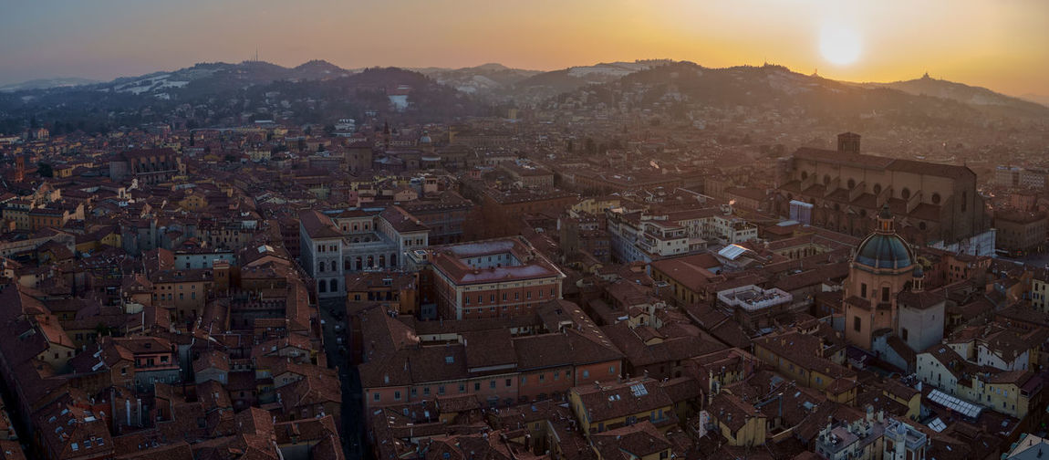 Sunset over Bologna Bologna Italy Cityscape City Sunset Urban Skyline Mountain Panoramic Sky Architecture Landscape Tall - High Tower Skyline Downtown District Residential District Settlement Residential Structure